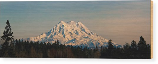 Mt Rainier Winter Panorama Wood Print