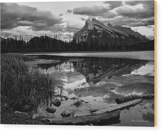 Mt. Rundle Reflection Wood Print