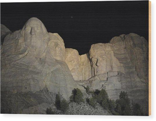 Mt. Rushmore At Night Wood Print