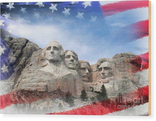 Mt Rushmore Flag Frame Wood Print