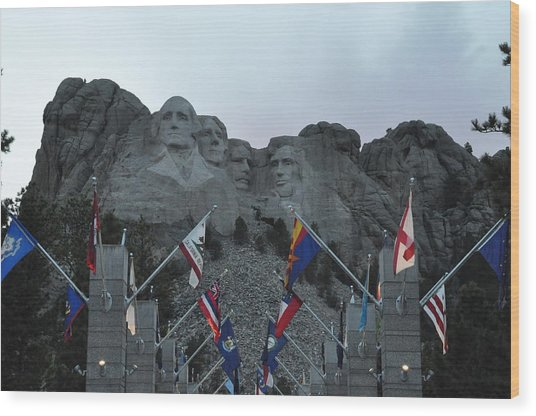 Mt. Rushmore In The Evening Wood Print