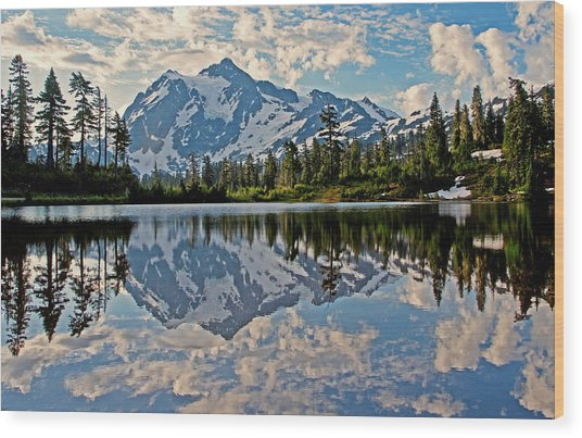 Mt. Shuksan Reflection Wood Print