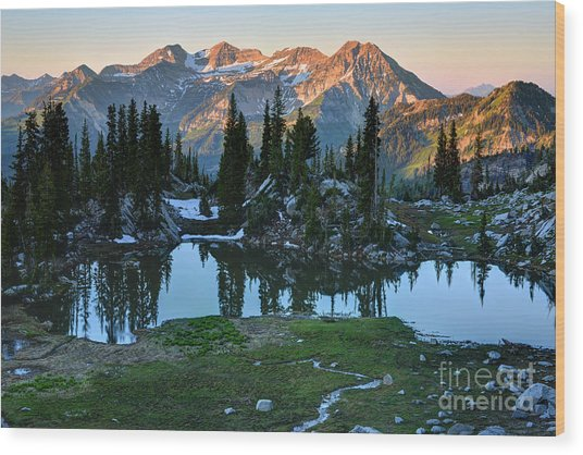 Mt. Timpanogos At Sunrise From Silver Glance Lake Wood Print