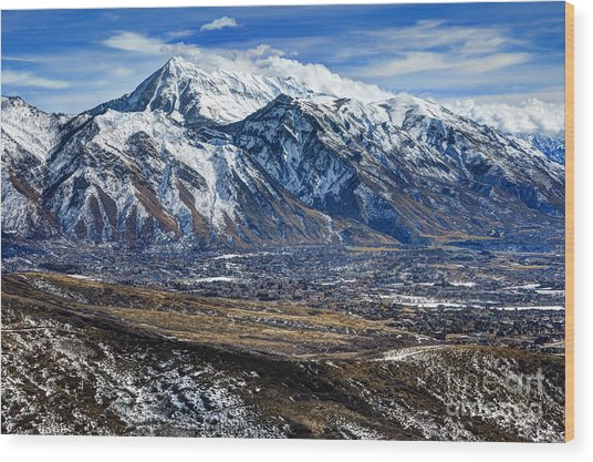 Mt. Timpanogos In Winter From Utah Valley Wood Print