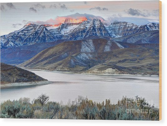 Mt. Timpanogos Winter Sunrise Wood Print