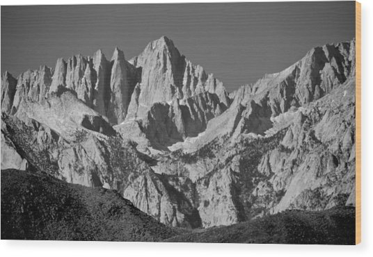 Mt. Whitney In Black And White Wood Print