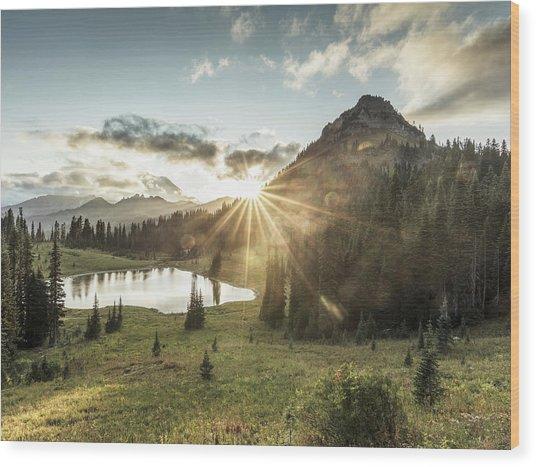 Mt.rainier In Sunset Wood Print