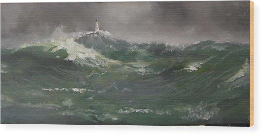 Muckle Flugga Lighthouse Shetland Wood Print