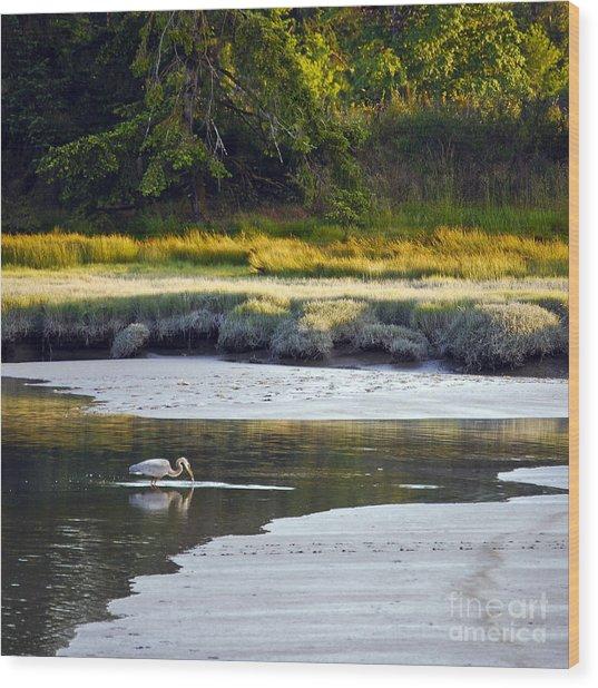Mud Bay Heron 1 Wood Print