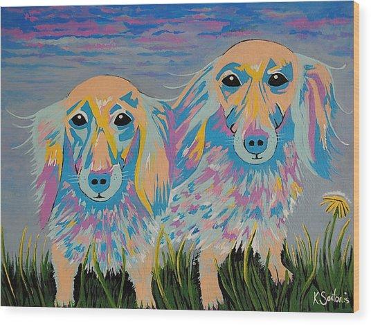 Mugi And Tatami - Contemporary Dachshunds Dog Art Wood Print