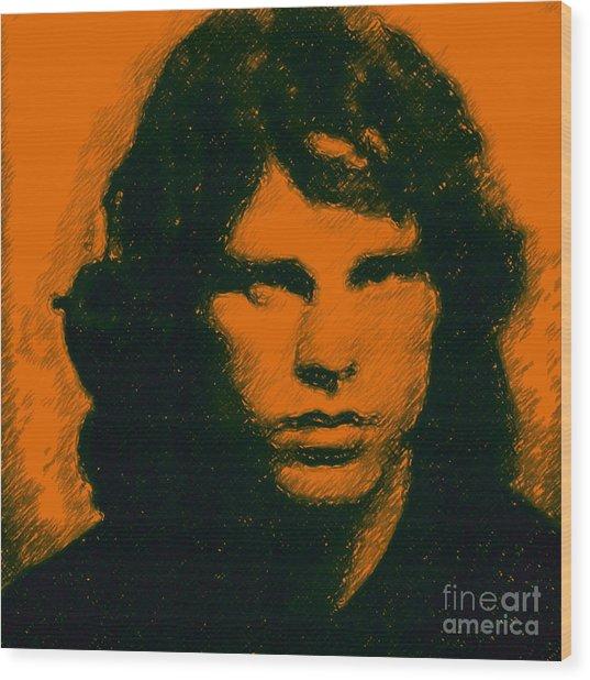 Mugshot Jim Morrison Square Wood Print by Wingsdomain Art and Photography