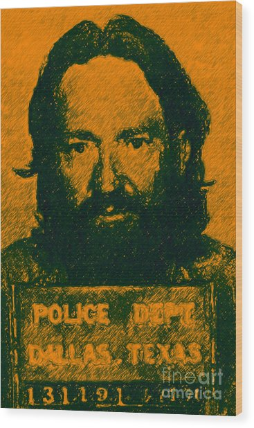 Mugshot Willie Nelson P0 Wood Print