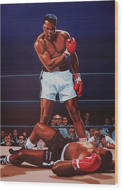 Muhammad Ali Versus Sonny Liston Wood Print