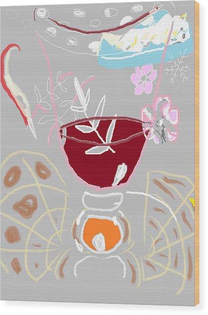 Muji With Wine Glass Wood Print