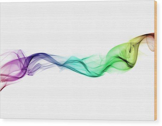 Multi-coloured Twist Of Smoke Wood Print by Anthony Bradshaw