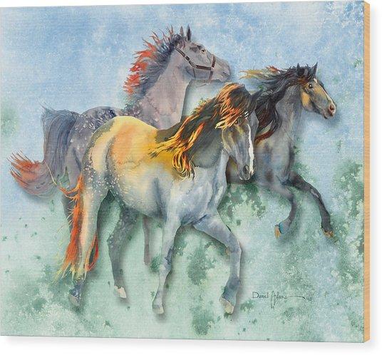 Da132 Multi - Horses Daniel Adams Wood Print