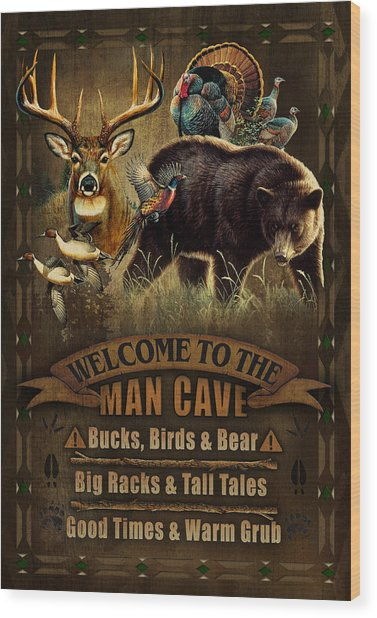 Multi Specie Man Cave Wood Print