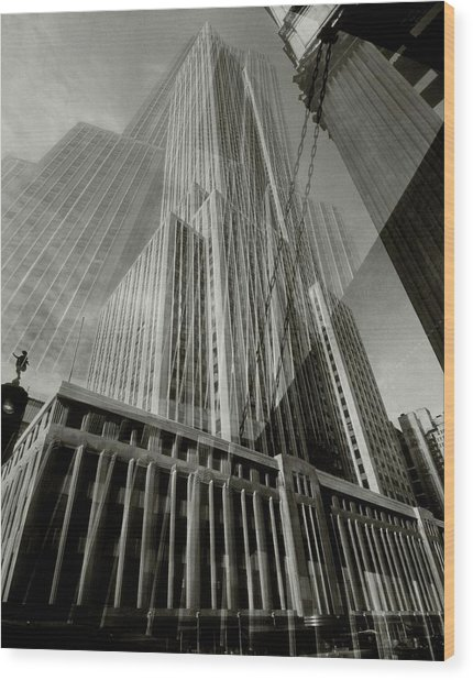 Multiple Exposure Of The Empire State Building Wood Print