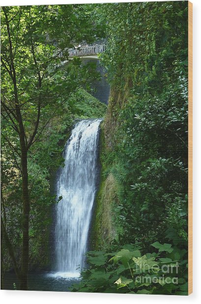 Multnomah Falls Bridge 2 Wood Print