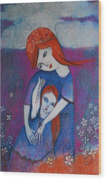 Mum Bird And Me Wood Print by Deirdre Gillespie