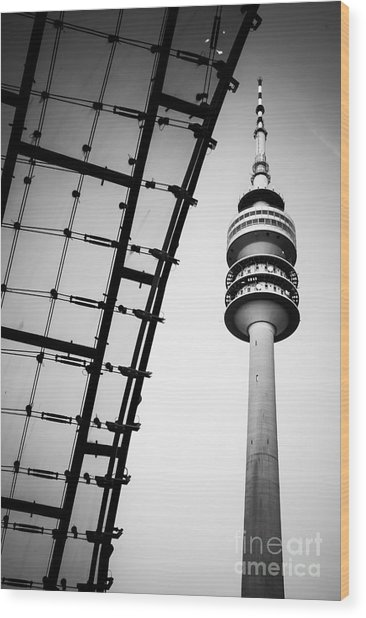 Munich - Olympiaturm And The Roof - Bw Wood Print