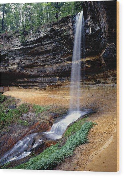 Munising Falls Wood Print by Tim Hawkins