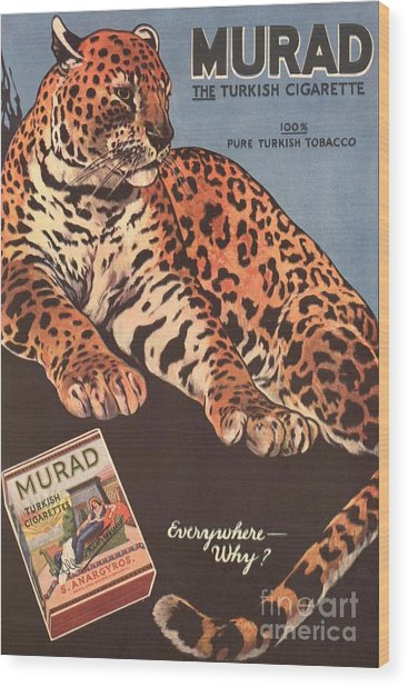 Murad 1910s Usa Cigarettes Smoking Wood Print by The Advertising Archives