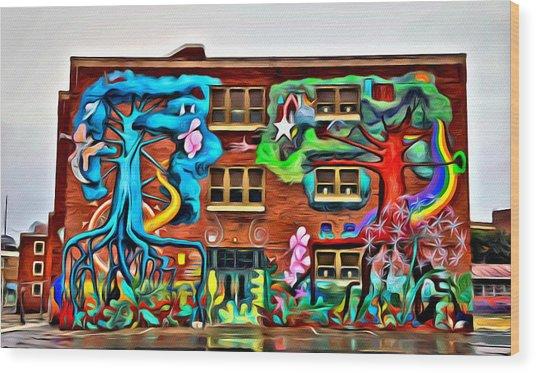 Mural On School Wood Print