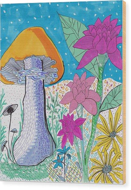 Murshroom Flowers And Fields Wood Print