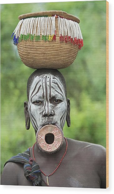 Mursi Woman With Lip Plate And Basket Wood Print