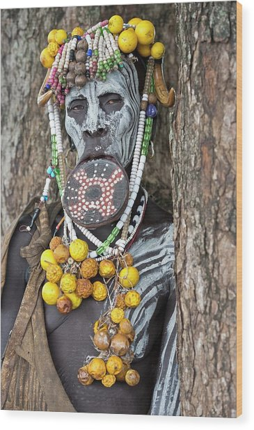 Mursi Woman With Lip Plate And Body Art Wood Print
