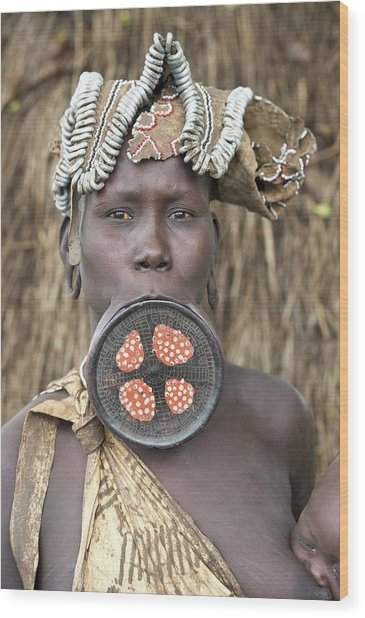 Mursi Woman With Lip Plate Wood Print