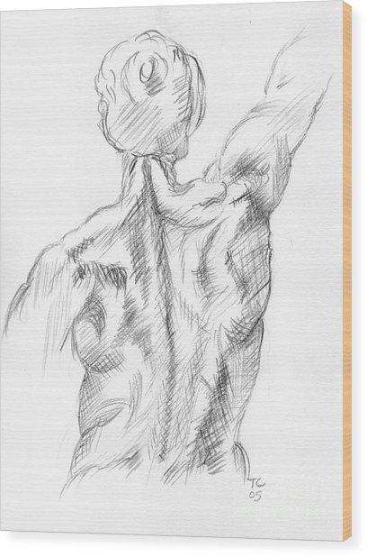 Muscular Back Wood Print