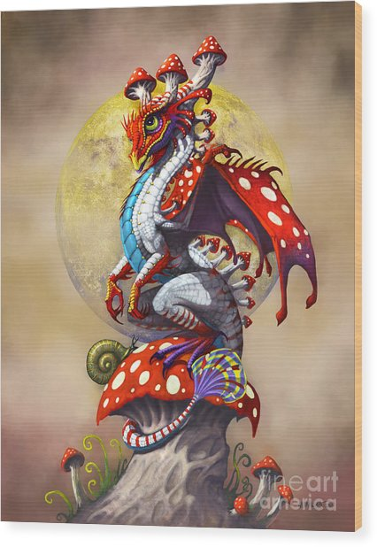 Mushroom Dragon Wood Print