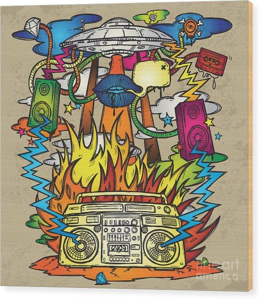 Music Background. Stylish Grunge Wood Print