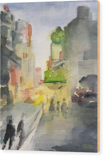 Music Box Theater Times Square Watercolor Painting Of New York Wood Print