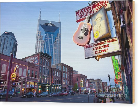 Music City Usa Wood Print