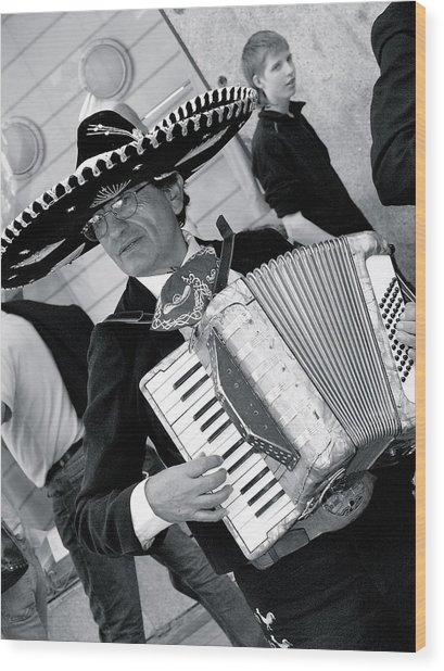 Music-mariachi Accordionist Wood Print