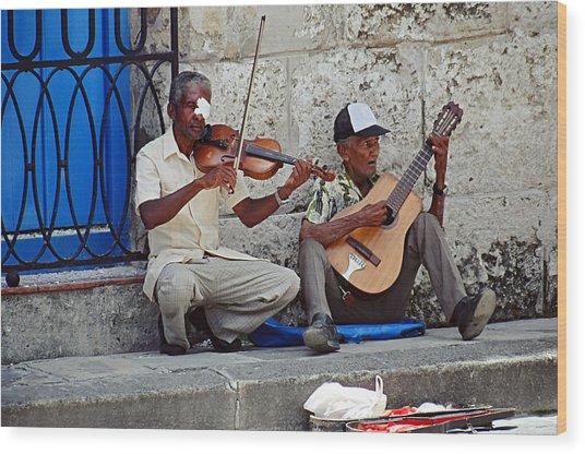 Music-street Musicians Wood Print