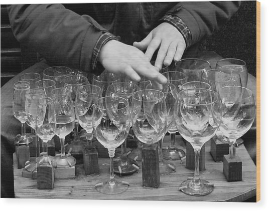 Music Water Glasses Wood Print