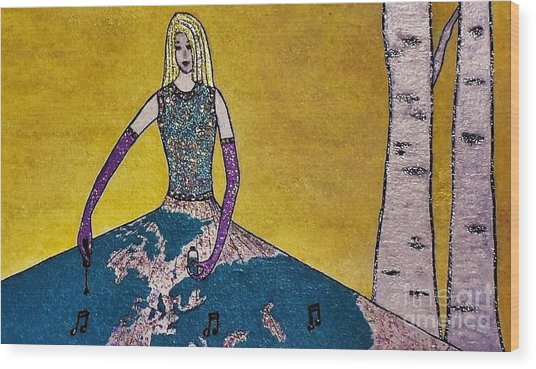 Music World By Jasna Gopic Wood Print