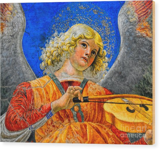 Musical Angel Basking In The Light Of Heaven 2 Wood Print