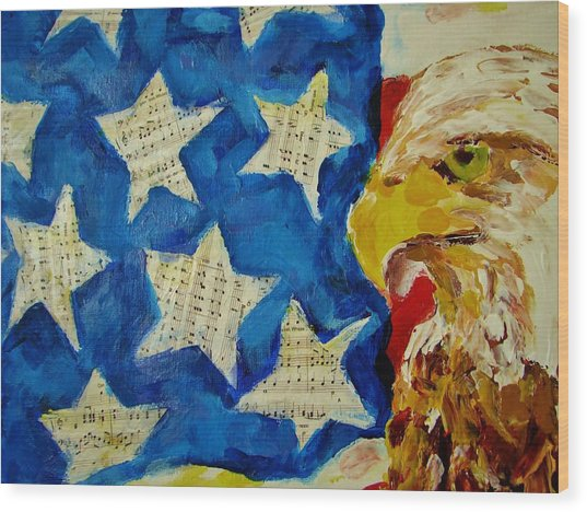 Musical Flag Stars Wood Print by Kat Griffin