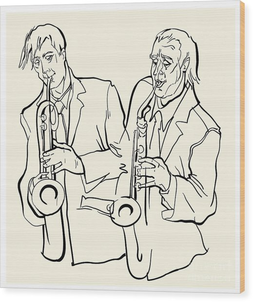 Musicans Of Jazz. Vector Illustration Wood Print