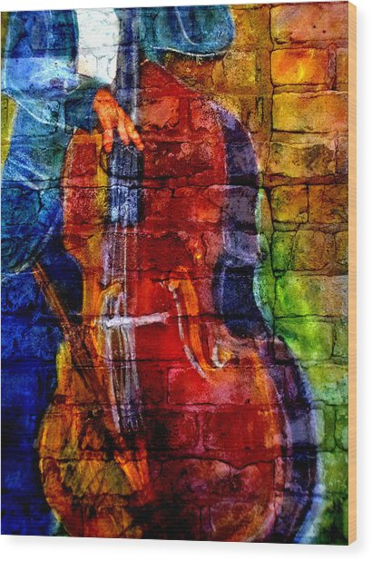 Musician Bass And Brick Wood Print