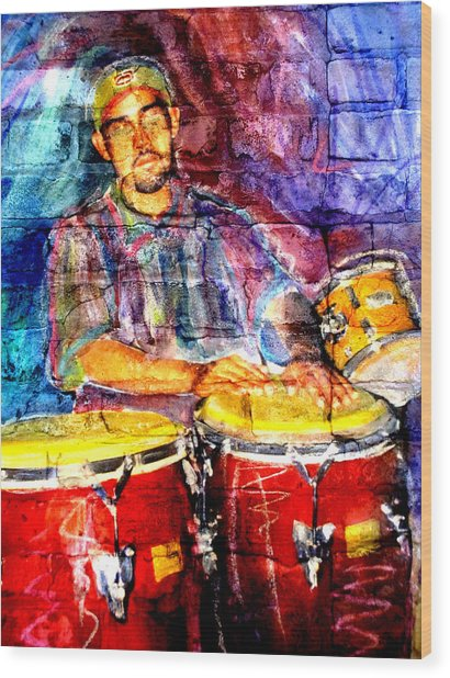 Musician Congas And Brick Wood Print
