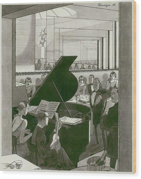 Musicians Entertain Patrons Wood Print by Pierre Mourgue