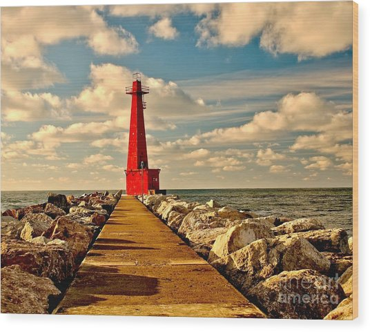 Muskegon South Pier Light Wood Print