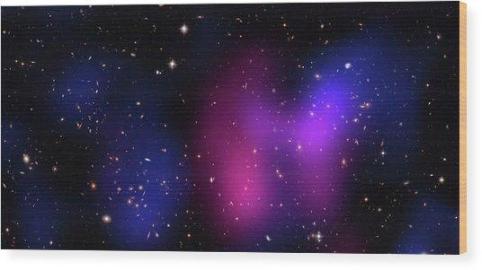 Musketball Galaxy Cluster Wood Print by X-ray: Nasa/cxc/caltech/a.newman Et Al/tel Aviv/a.morandi & M.limousin; Optical: Nasa/stsci, Eso/vlt, Sdss