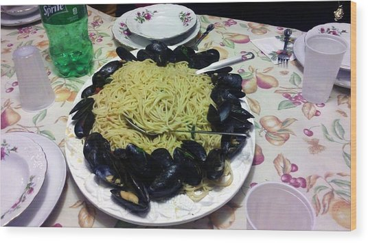 Mussels And Pasta Wood Print